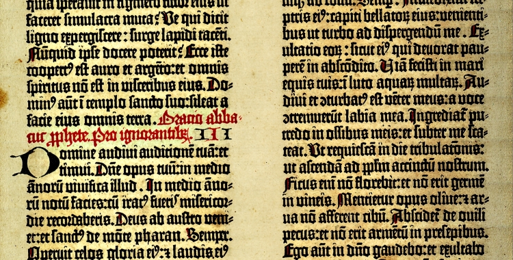 Photograph of leaf from Gutenberg Bible A1
