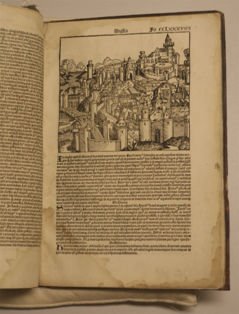 Photograph of a page from the Nuremberg Chronicle about Scotland.
