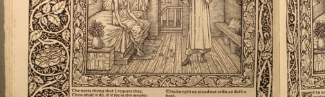 Cropped photograph of illustrated page of Kelmscott Chaucer F308